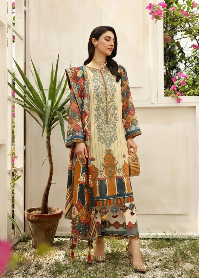 Aghaaz By Nuriyaa Printed Lawn Suits Unstitched 2 Piece NR21A GULSHAN A - Summer Collection