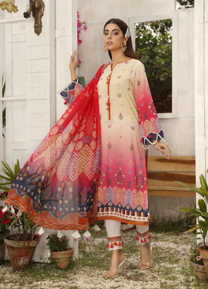 Aghaaz By Nuriyaa Printed Lawn Suits Unstitched 2 Piece NR21A YESFIR A - Summer Collection