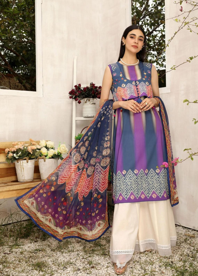 Aghaaz By Nuriyaa Printed Lawn Suits Unstitched 2 Piece NR21A YESFIR B - Summer Collection