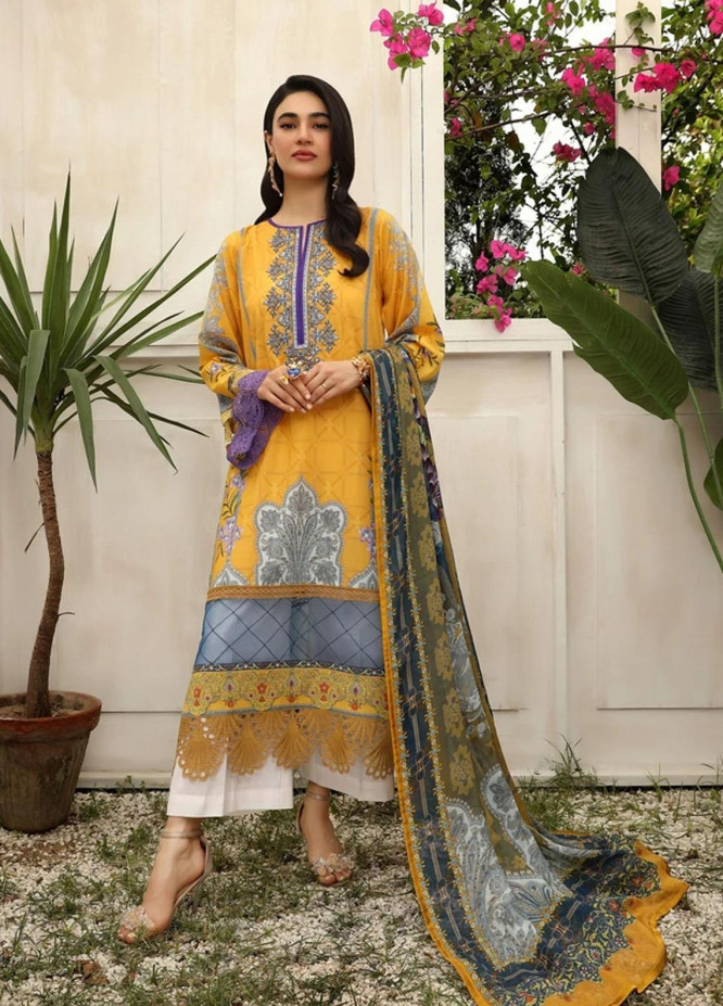 Aghaaz By Nuriyaa Embroidered Lawn Suits Unstitched 2 Piece NR21A ZAREEN A - Summer Collection