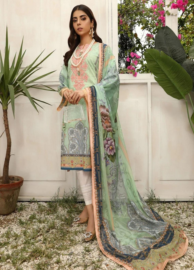 Aghaaz By Nuriyaa Embroidered Lawn Suits Unstitched 2 Piece NR21A ZAREEN B - Summer Collection