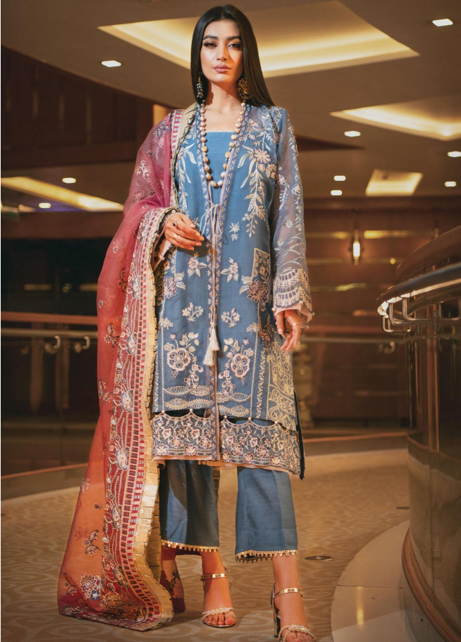 AIK Atelier Embroidered Organza Suits Unstitched 3 Piece AIK21WD 08 - Wedding Collection