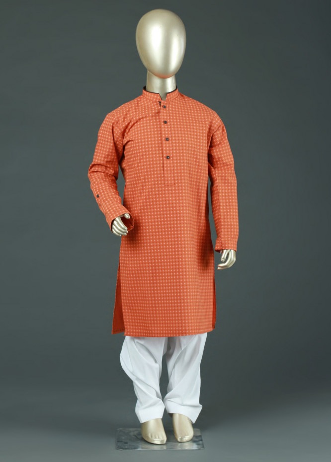 Aizaz Zafar Cotton Formal Kurtas for Boys -  AZ19B 220 Orange