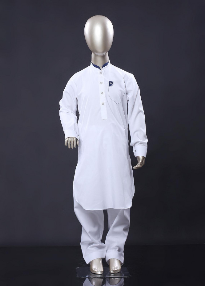 Aizaz Zafar Cotton Formal Kameez Shalwar for Boys - 256 White