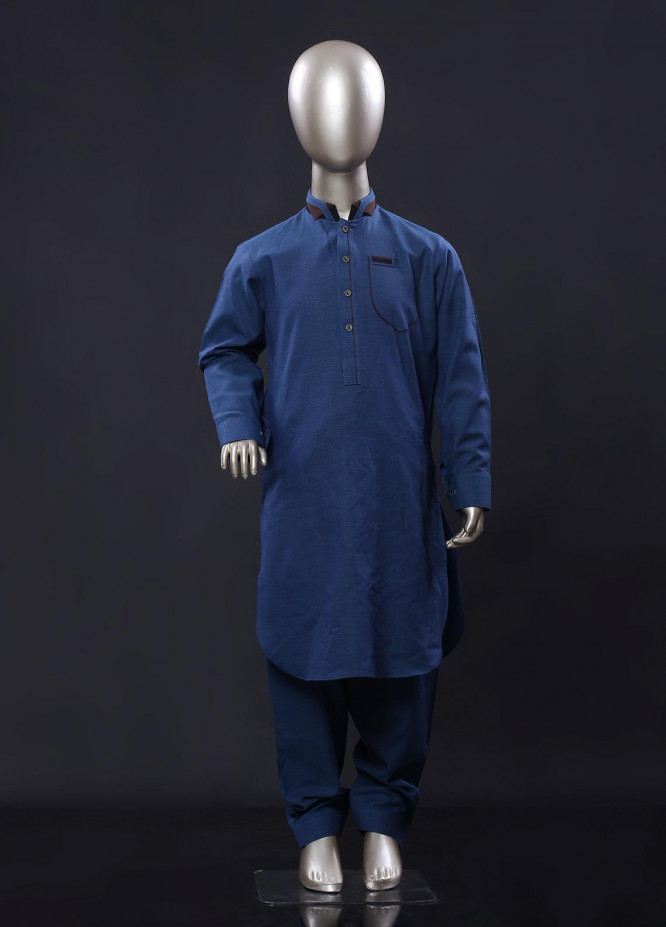 Aizaz Zafar Cotton Formal Boys Kameez Shalwar -  257 Blue