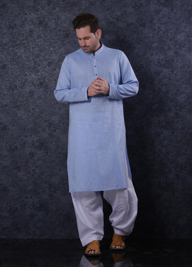 Aizaz Zafar Cotton Formal Men Kurta -  302 Sky Blue