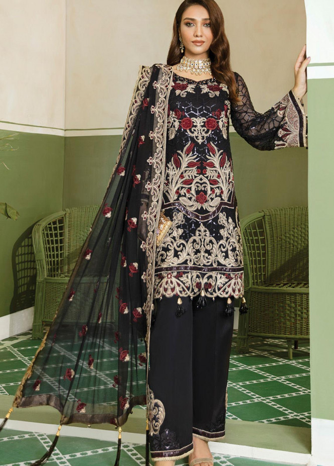 Akbar Aslam Embroidered Chiffon Unstitched 3 Piece Suit AA20WD 2302 - Wedding Collection