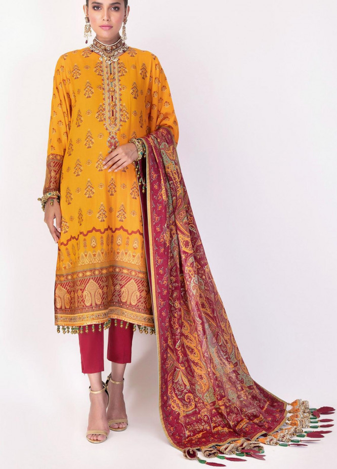 Al Karam Embroidered Jacquard Suits Unstitched 3 Piece AK21F-2 FC-02A-21-2-Yellow - Festive Collection