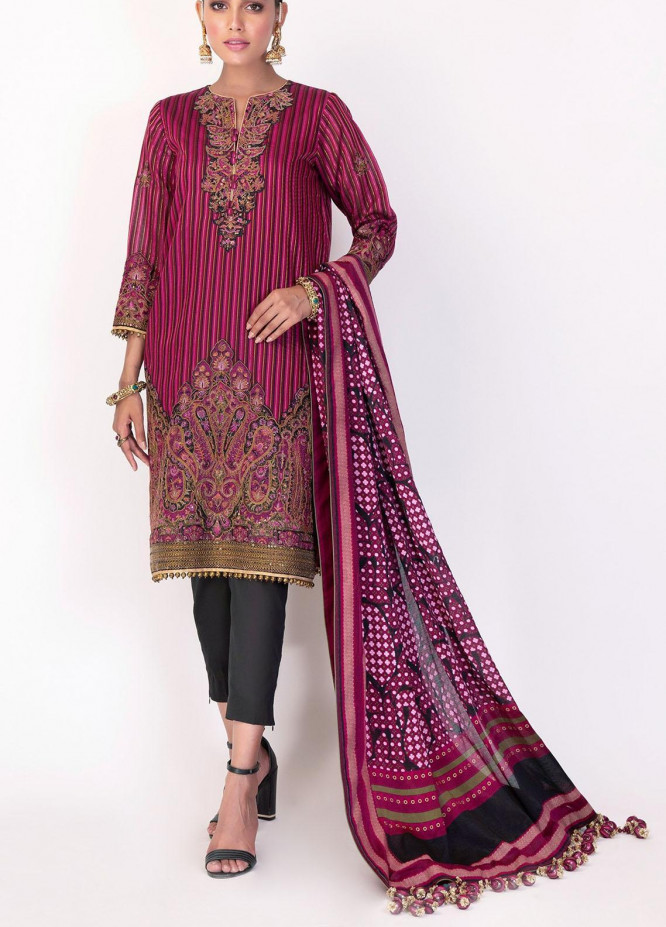 Al Karam Embroidered Yarn Suits Unstitched 3 Piece AK21F-2 FC-11E-21-2-Pink - Festive Collection