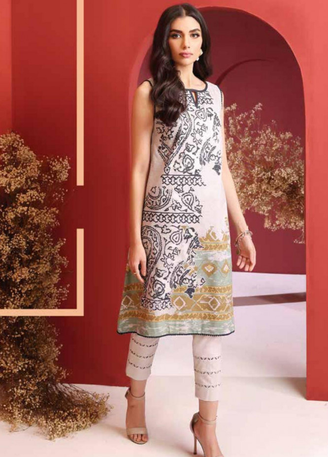 Al Karam Printed Cambric Suits Unstitched 2 Piece AK21MS-MS-14.1-21-beige - Summer Collection
