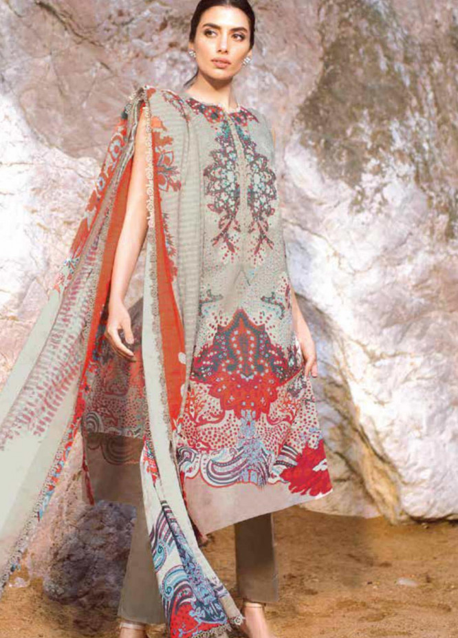 Al Karam Printed Lawn Suits Unstitched 3 Piece AK21S-2 SS-05-21-2-Beige - Summer Collection