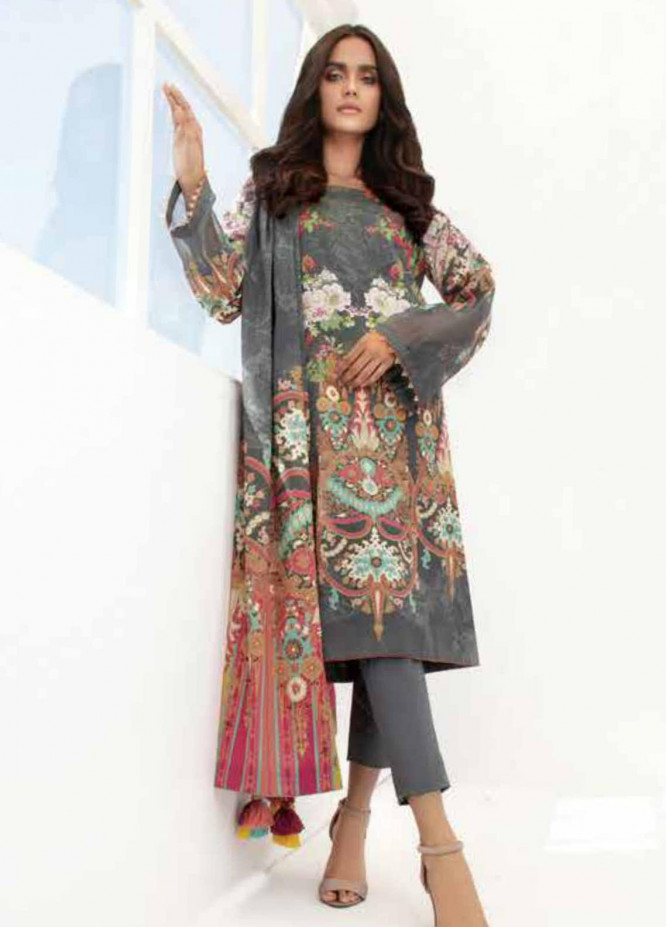 Al Karam Printed Lawn Suits Unstitched 3 Piece AK21S-2 SS-11.1-21-2-Grey - Summer Collection