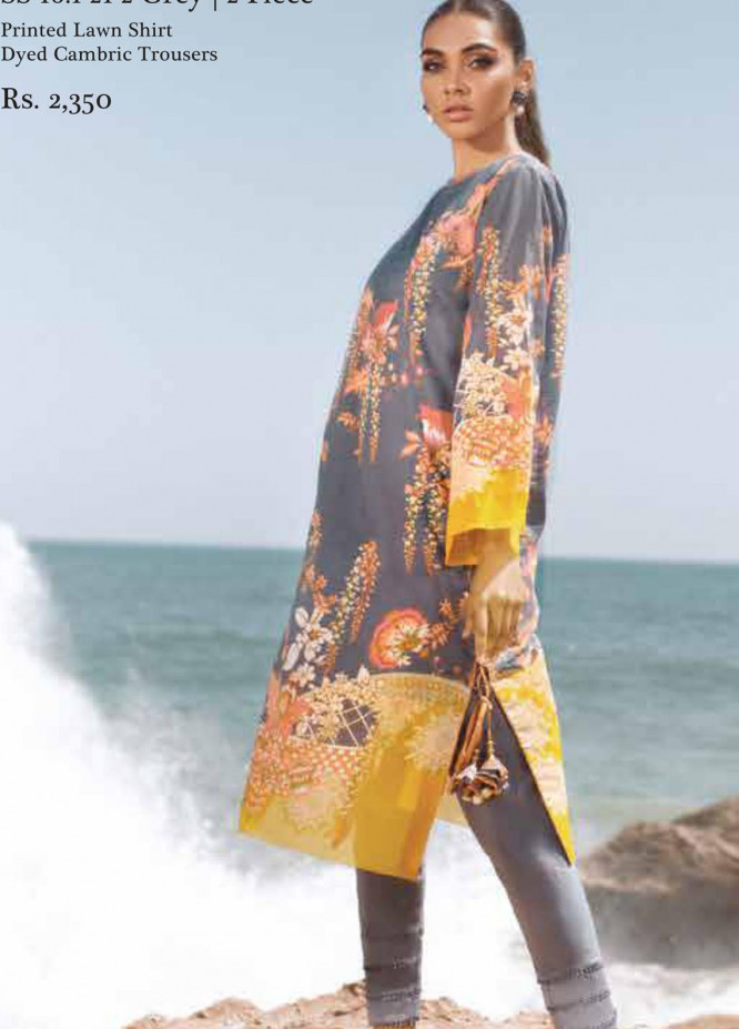 Al Karam Printed Lawn Suits Unstitched 2 Piece AK21S-2 SS-16.1-21-2-Grey - Summer Collection