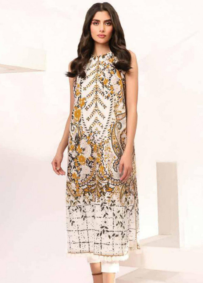 Al Karam Printed Lawn Suits Unstitched 2 Piece AK21S-2 SS-19.1-21-2-Beige - Summer Collection