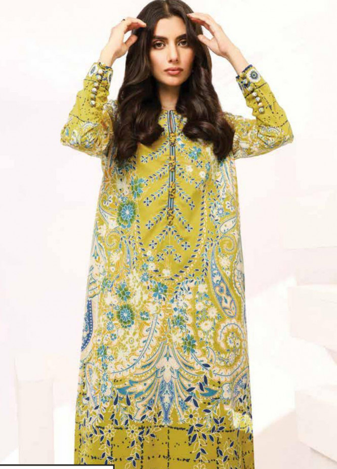 Al Karam Printed Lawn Suits Unstitched 2 Piece AK21S-2 SS-19.1-21-2-Olive - Summer Collection
