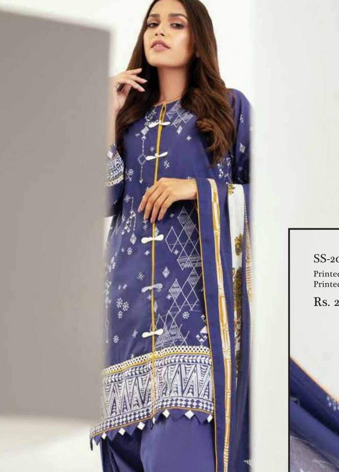Al Karam Printed Lawn Suits Unstitched 2 Piece AK21S-2 SS-20.1-21-2-Blue - Summer Collection