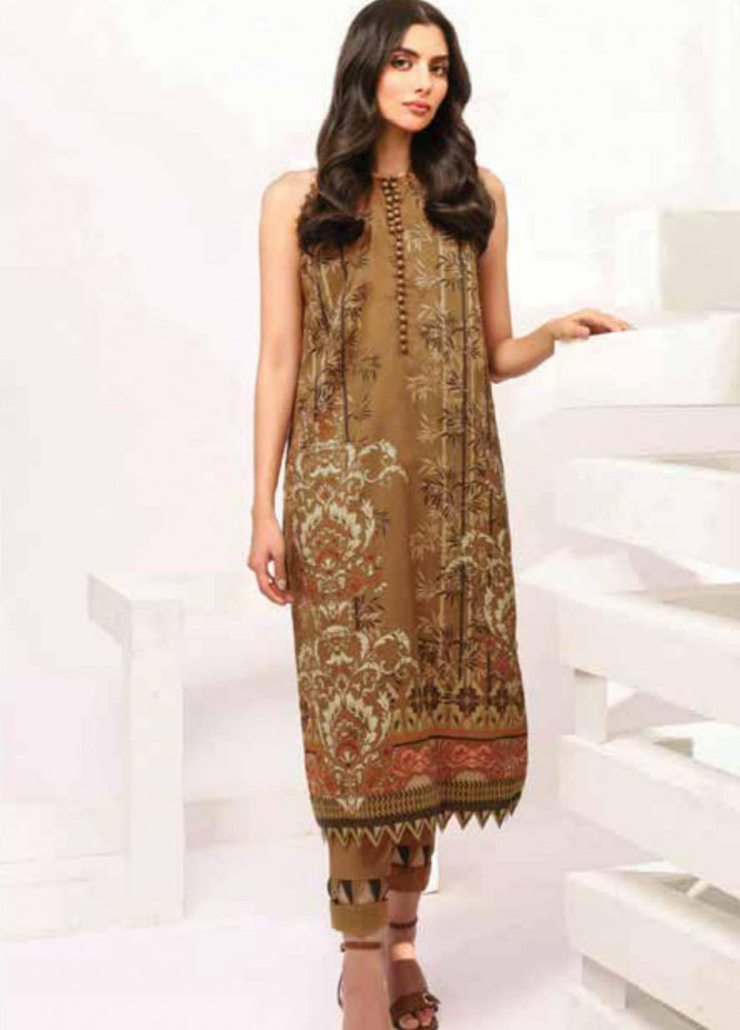 Al Karam Printed Lawn Unstitched Kurties AK21S-2 SS-25-21-2-Brown - Summer Collection