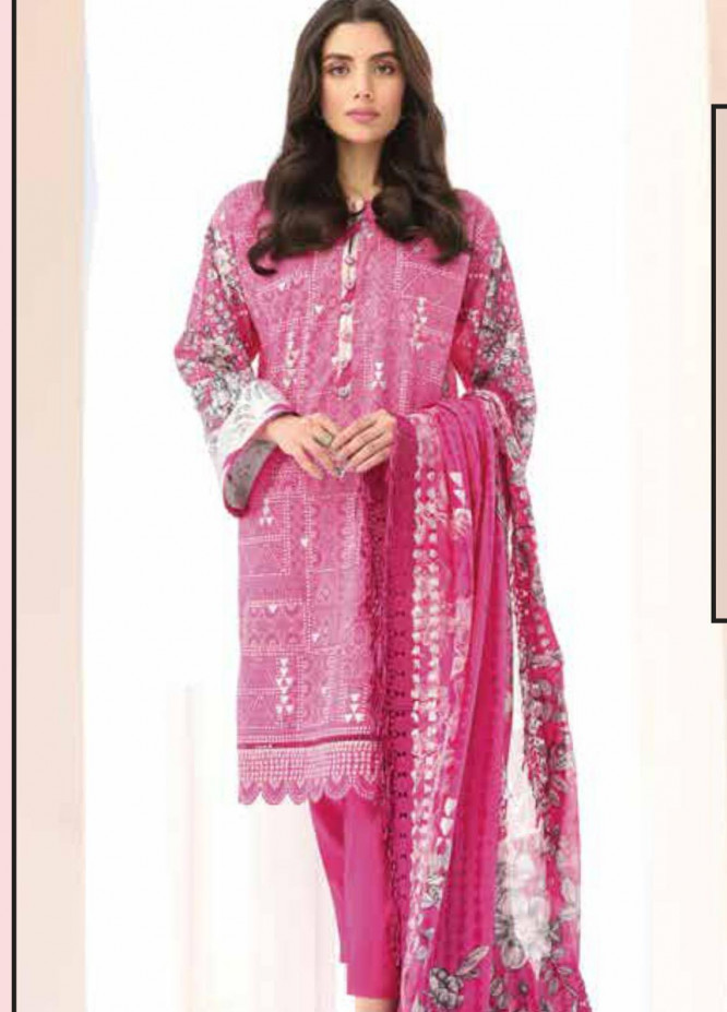 Al Karam Printed Lawn Suits Unstitched 3 Piece AK21S-2 SS-8.1-21-2-Pink - Summer Collection