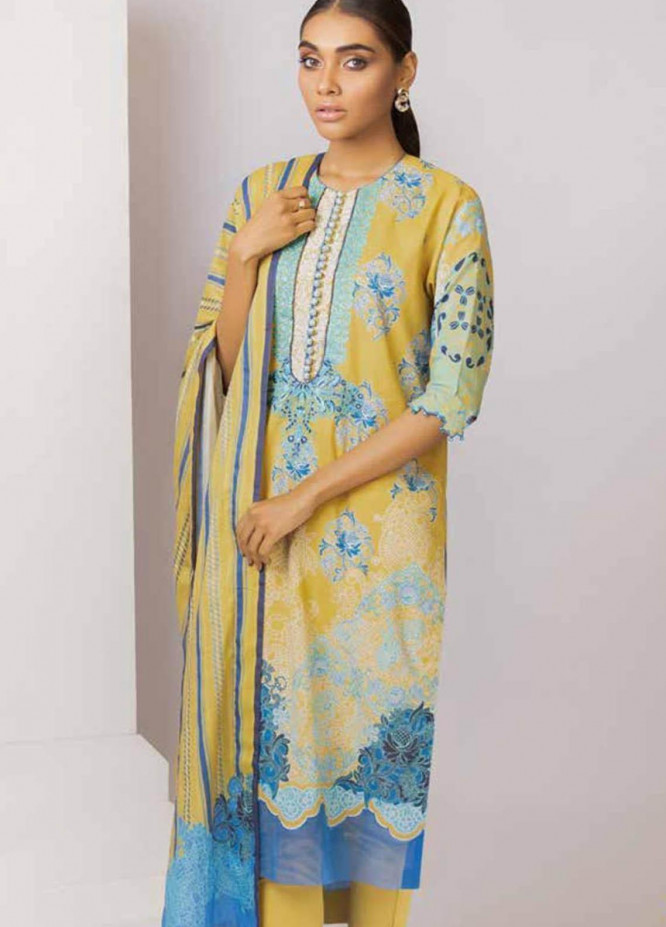Al Karam Embroidered Lawn Suits Unstitched 3 Piece AK21S SS-06-21 Yellow - Summer Collection