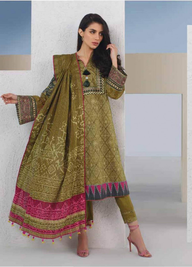Al Karam Embroidered Lawn Suits Unstitched 3 Piece AK21S SS-10.1-21 Green - Summer Collection