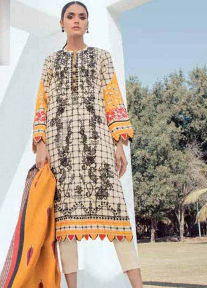 Al Karam Embroidered Lawn Suits Unstitched 2 Piece AK21S SS-11-21 Cream - Summer Collection