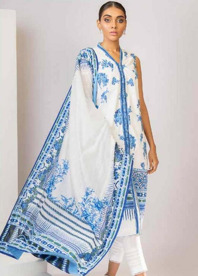Al Karam Embroidered Lawn Suits Unstitched 3 Piece AK21S SS-12.1-21 White - Summer Collection