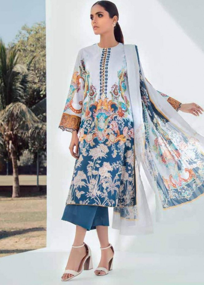 Al Karam Embroidered Lawn Suits Unstitched 3 Piece AK21S SS-14-21 Blue - Summer Collection