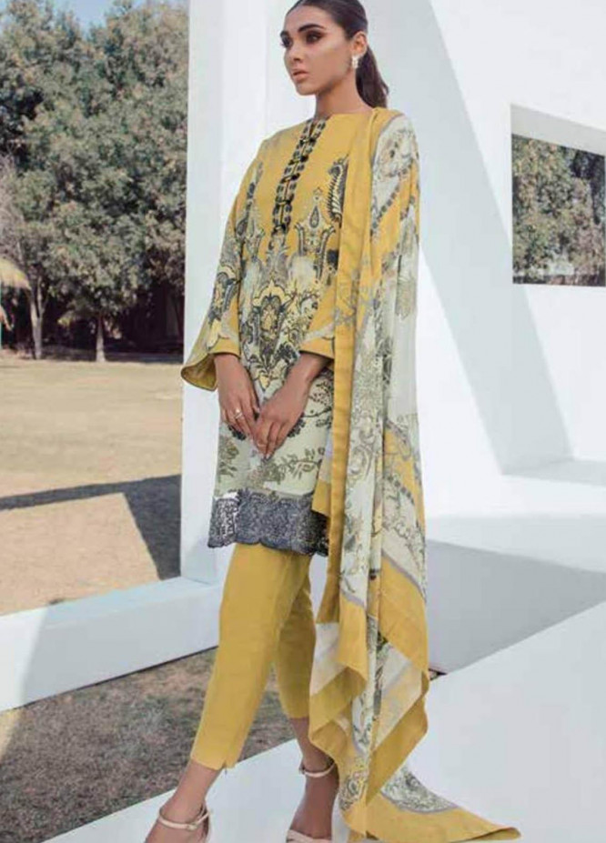 Al Karam Embroidered Lawn Suits Unstitched 3 Piece AK21S SS-14-21 Mustard - Summer Collection