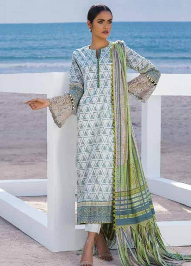 Al Karam Embroidered Lawn Suits Unstitched 3 Piece AK21S SS-14.1-21 Green - Summer Collection
