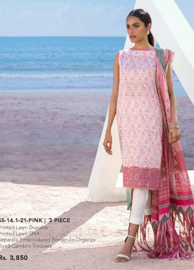 Al Karam Embroidered Lawn Suits Unstitched 3 Piece AK21S SS-14.1-21 Pink - Summer Collection