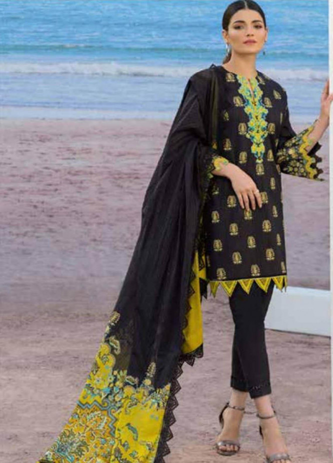 Al Karam Embroidered Lawn Suits Unstitched 3 Piece AK21S SS-15.1-21 Black - Summer Collection