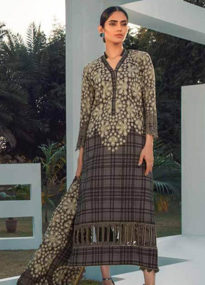 Al Karam Embroidered Lawn Suits Unstitched 3 Piece AK21S SS-21-21 Grey - Summer Collection