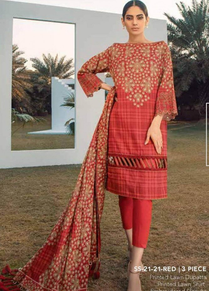 Al Karam Embroidered Lawn Suits Unstitched 3 Piece AK21S SS-21-21 Red - Summer Collection