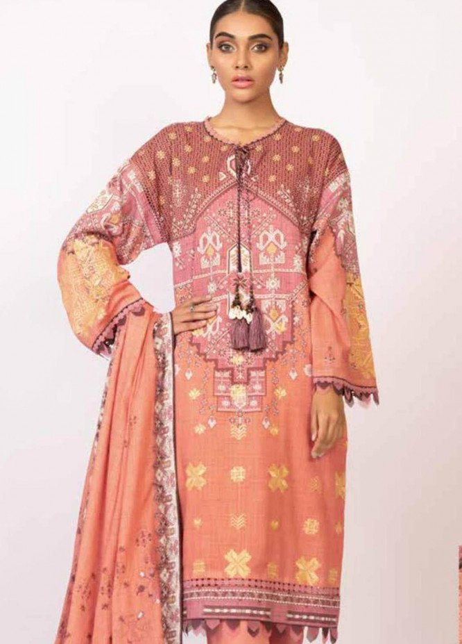 Al Karam Embroidered Lawn Suits Unstitched 3 Piece AK21S SS-23-21 Terracotta - Summer Collection