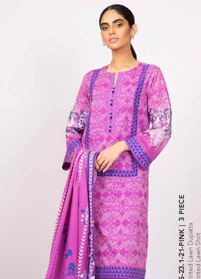 Al Karam Embroidered Lawn Suits Unstitched 3 Piece AK21S SS-23.1-21 Pink - Summer Collection