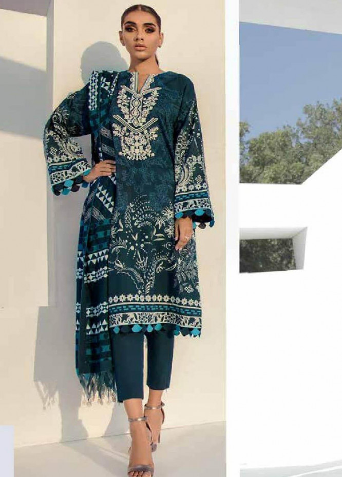 Al Karam Embroidered Lawn Suits Unstitched 3 Piece AK21S SS-24-21 Blue - Summer Collection