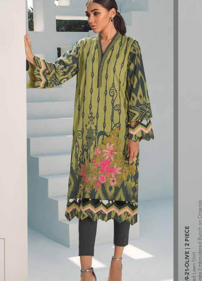 Al Karam Embroidered Lawn Suits Unstitched 2 Piece AK21S SS-39-21 Olive  - Summer Collection