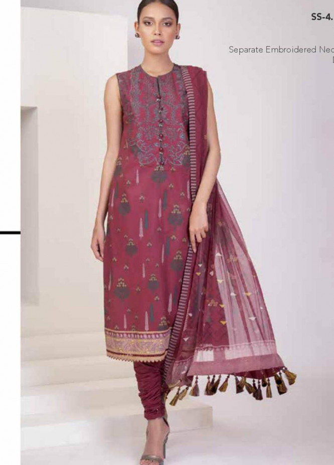 Al Karam Embroidered Lawn Suits Unstitched 3 Piece AK21S SS-4.1-21 Red - Summer Collection