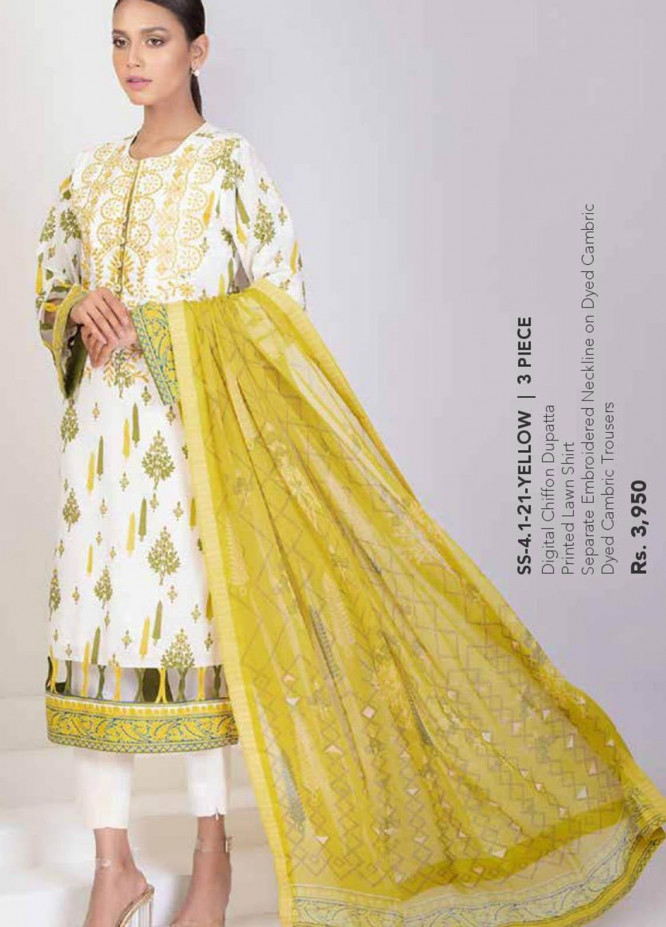 Al Karam Embroidered Lawn Suits Unstitched 3 Piece AK21S SS-4.1-21 Yellow - Summer Collection