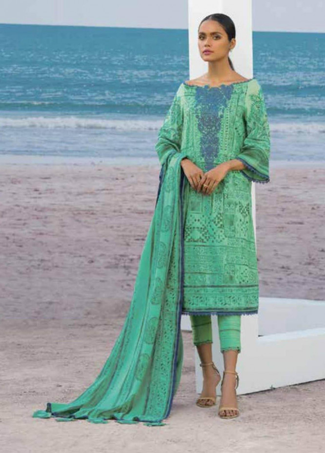 Al Karam Embroidered Lawn Suits Unstitched 3 Piece AK21S SS-8.1-21 Green - Summer Collection