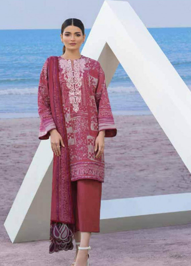 Al Karam Embroidered Lawn Suits Unstitched 3 Piece AK21S SS-8.1-21 Pink - Summer Collection