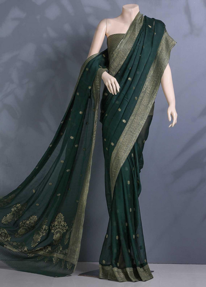 Al Rahim Banarsi Embroidered Chiffon Unstitched Saree ARB20S Boti Zari BC1195 B Green - Festive Collection