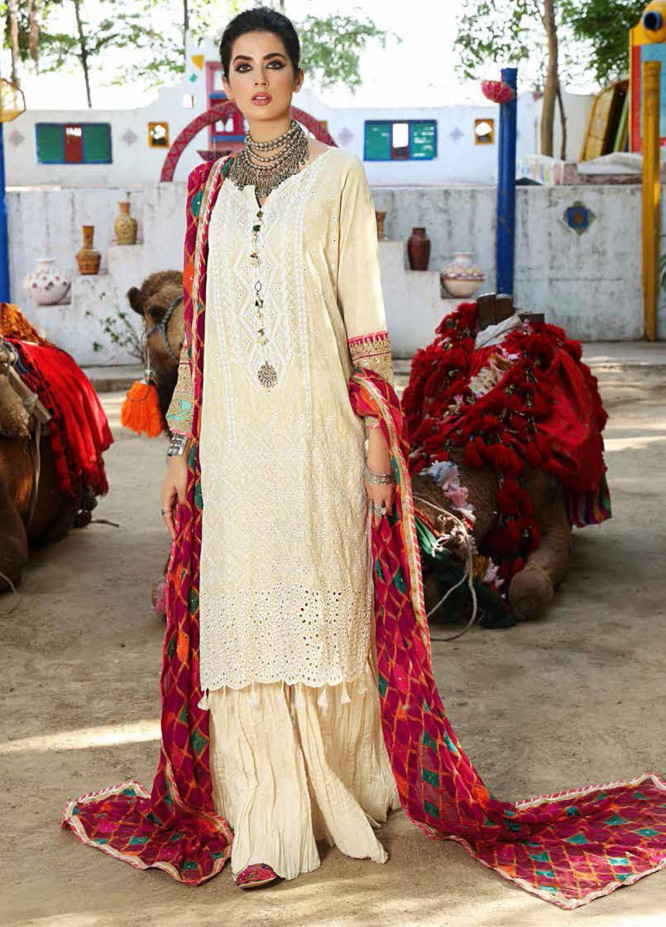 Bandhani By Al Zohaib Embroidered Lawn Suits Unstitched 3 Piece AZ21B 01 Phulkari - Summer Collection