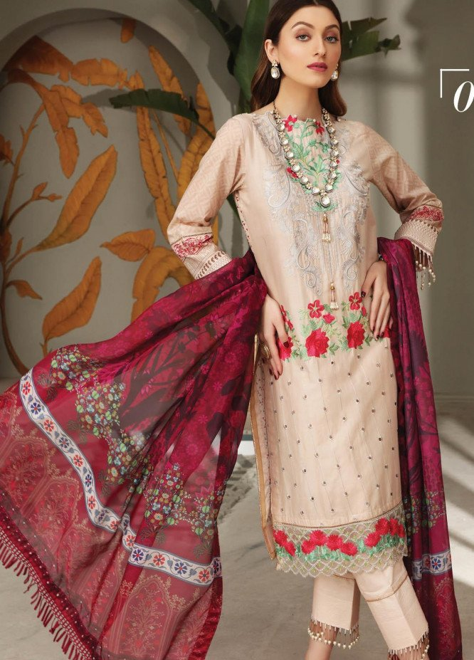 Festive Hues By Al Zohaib Embroidered Lawn Suits Unstitched 3 Piece AZ21FH 01 - Festive Collection