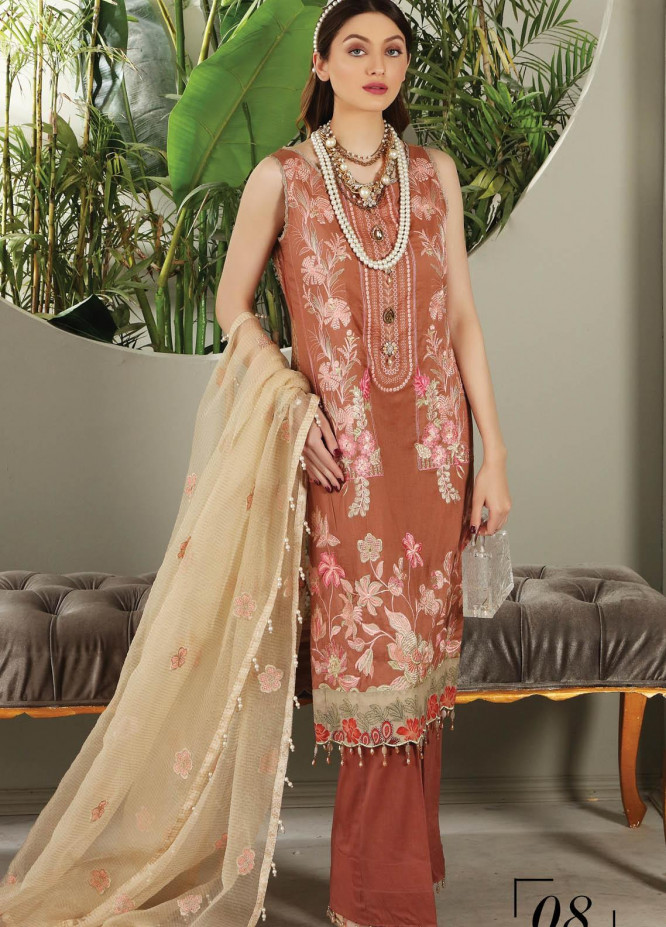 Festive Hues By Al Zohaib Embroidered Lawn Suits Unstitched 3 Piece AZ21FH 08 - Festive Collection