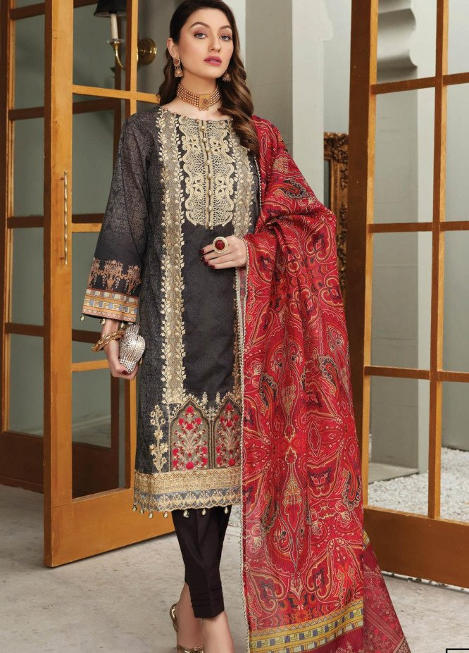 Festive Hues By Al Zohaib Embroidered Lawn Suits Unstitched 3 Piece AZ21FH 09 - Festive Collection