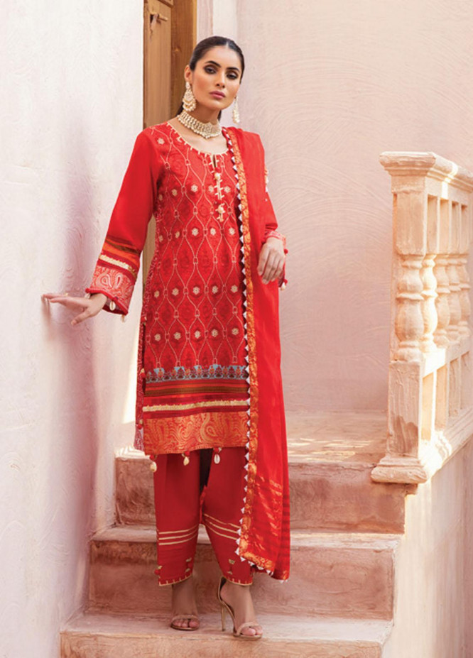 Festive Hues By Al Zohaib Embroidered Lawn Suits Unstitched 3 Piece AZ21-FH2 08 - Summer Collection