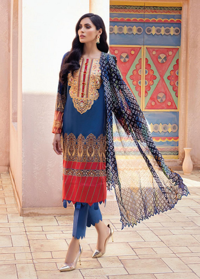 Festive Hues By Al Zohaib Embroidered Lawn Suits Unstitched 3 Piece AZ21-FH2 12 - Summer Collection