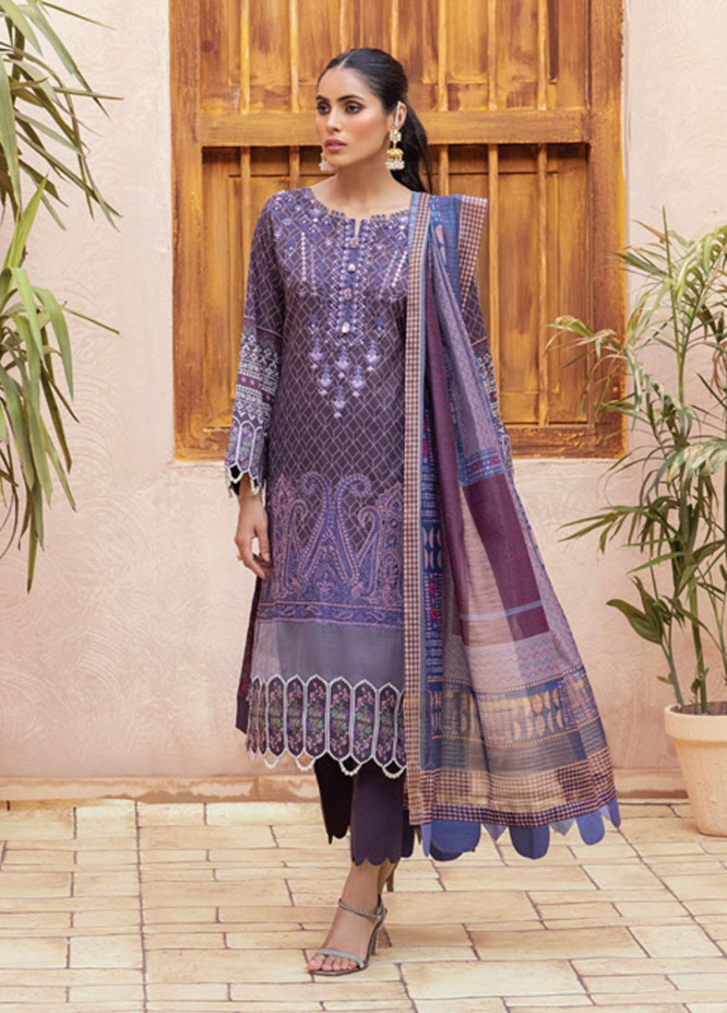 Festive Hues By Al Zohaib Embroidered Lawn Suits Unstitched 3 Piece AZ21-FH2 13 - Summer Collection