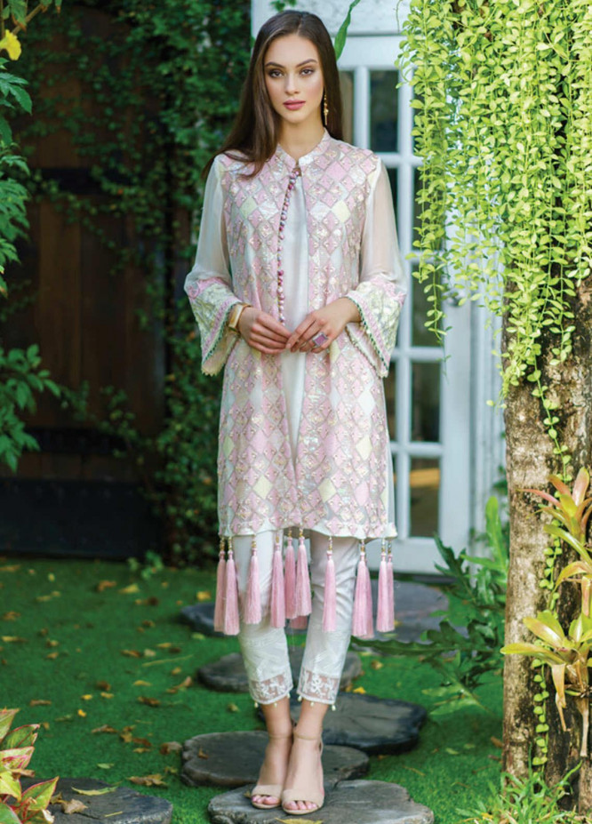 Al Zohaib Embroidered Chiffon Unstitched Kurties AZ20F D-01 - Formal Collection